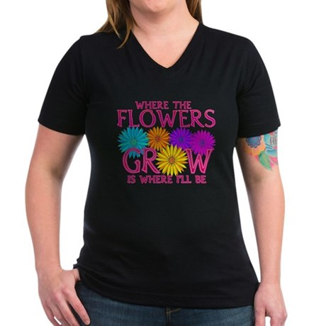 Where Flowers Grow Women's V-Neck Dark T-Shirt