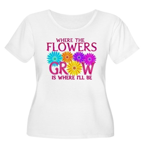 Where Flowers Grow Women's Plus Size Scoop Neck T-