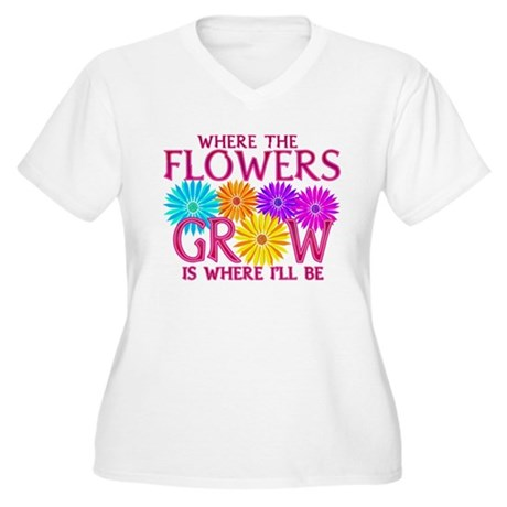 Where Flowers Grow Women's Plus Size V-Neck T-Shir