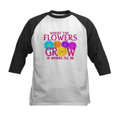 Where Flowers Grow Kids Baseball Jersey