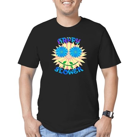Happy Flower Men's Fitted T-Shirt (dark)