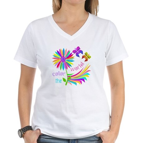 Color the World Women's V-Neck T-Shirt