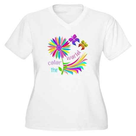 Color the World Women's Plus Size V-Neck T-Shirt
