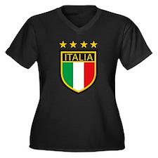 italian pride Women's Plus Size V-Neck Dark T-Shir