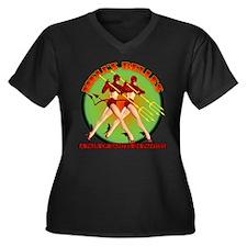 Tarfu Women's Plus Size V-Neck Dark T-Shirt