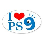 I Love PS9 Oval Sticker