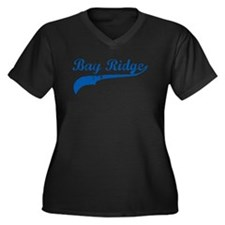 Bay Ridge Blue Women's Plus Size V-Neck Dark T-Shi