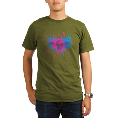 Splatter Skull Organic Mens Dark T-Shirt