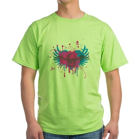 Splatter Skull Green T-Shirt