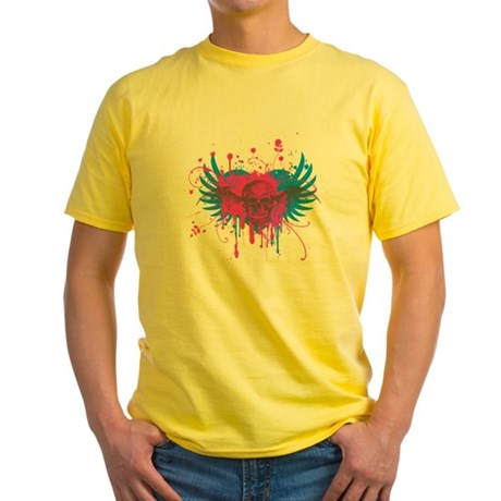 Splatter Skull Yellow T-Shirt