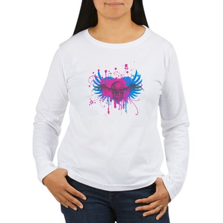 Splatter Skull Womens Long Sleeve T-Shirt