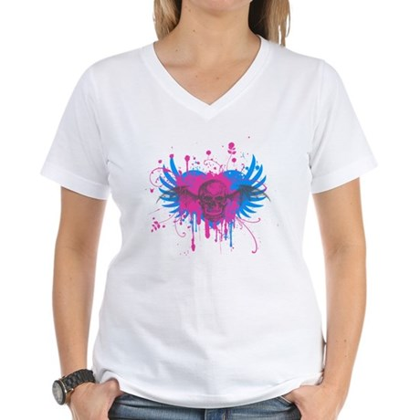 Splatter Skull Womens V-Neck T-Shirt