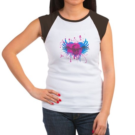 Splatter Skull Womens Cap Sleeve T-Shirt