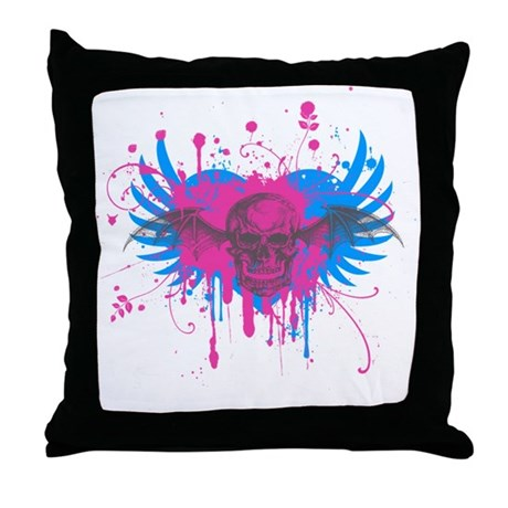 Splatter Skull Throw Pillow