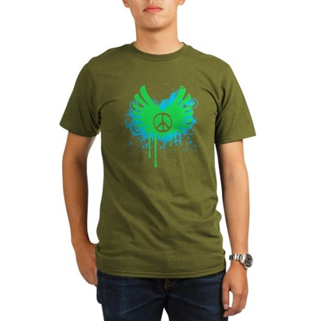 Peace and Love Organic Mens Dark T-Shirt
