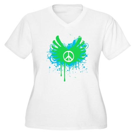 Peace and Love Plus Size V-Neck Shirt
