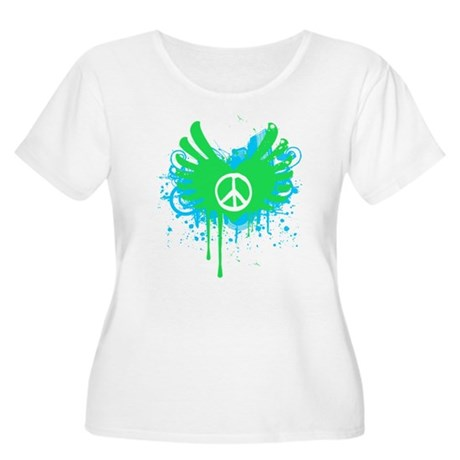 Peace and Love Womens Plus Size Scoop Neck T-Shir