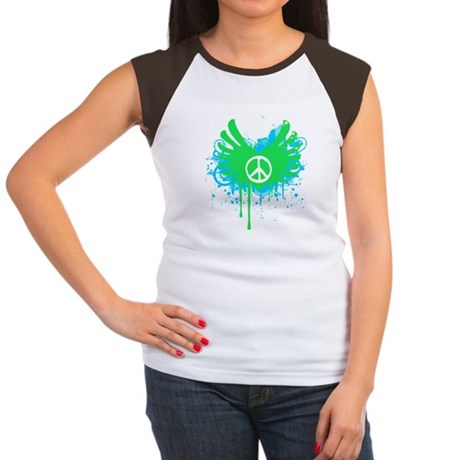 Peace and Love Womens Cap Sleeve T-Shirt