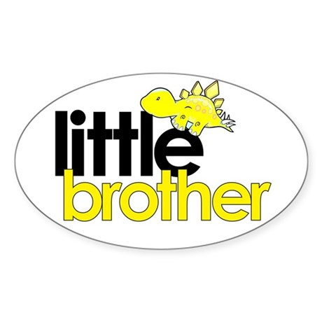 little brother t-shirt dinosaur Oval Sticker