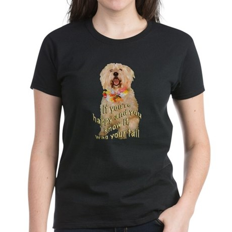 happy wheaten terrier Women's Dark T-Shirt