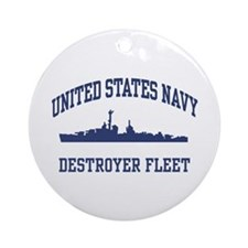 Navy Destroyer Ornament (Round)