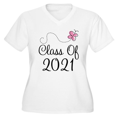 Sweet Pink Class Of 2021 Women's Plus Size V-Neck