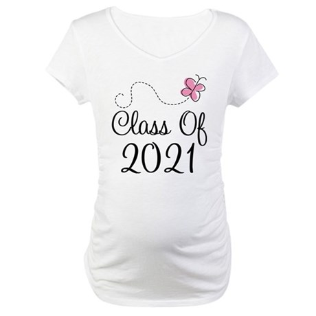 Sweet Pink Class Of 2021 Maternity T-Shirt