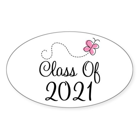 Sweet Pink Class Of 2021 Oval Sticker (10 pk)