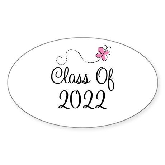 Sweet Pink Class Of 2022 Oval Sticker (10 pk)