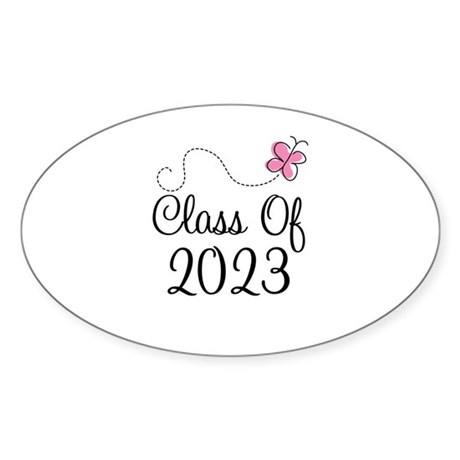 Sweet Pink Class Of 2023 Oval Sticker