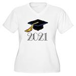 Classic 2021 Grad Women's Plus Size V-Neck T-Shirt
