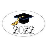 2022 Grad Hat Oval Sticker (10 pk)