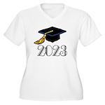 2023 Grad Hat Women's Plus Size V-Neck T-Shirt