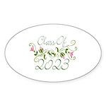 Flowered Class Of 2023 Oval Sticker (10 pk)