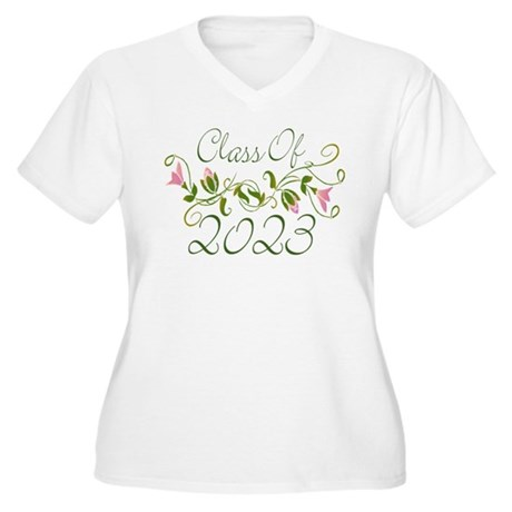 Flowered Class Of 2023 Women's Plus Size V-Neck T-