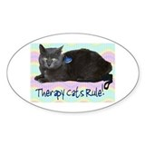 &quot;Therapy Cats Rule!&quot; Oval Decal
