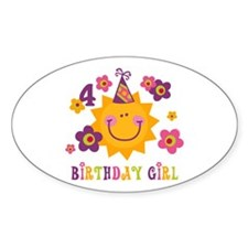 Sun 4th Birthday Oval Decal