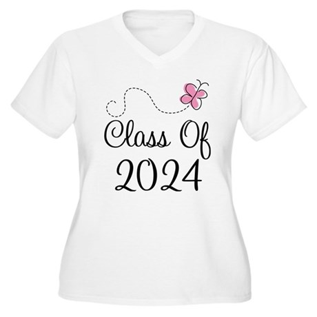Sweet Pink Class Of 2024 Women's Plus Size V-Neck