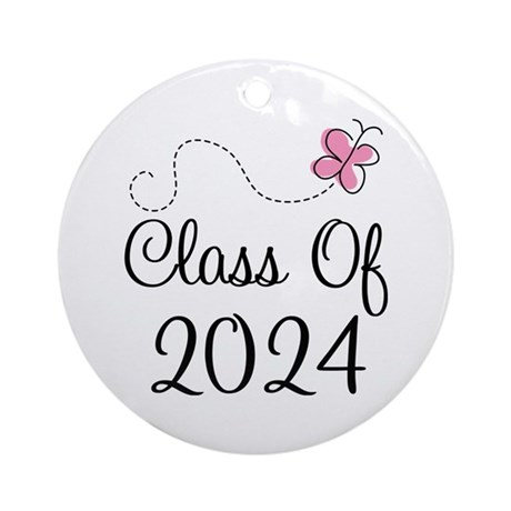 Sweet Pink Class Of 2024 Ornament (Round)
