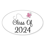 Sweet Pink Class Of 2024 Oval Sticker (10 pk)