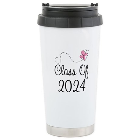 Sweet Pink Class Of 2024 Stainless Steel Travel Mu