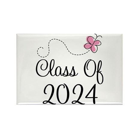 Sweet Pink Class Of 2024 Rectangle Magnet