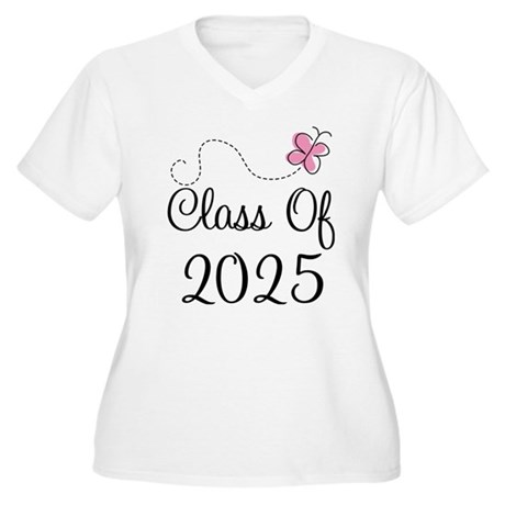 Pink Class Of 2025 Women's Plus Size V-Neck T-Shir