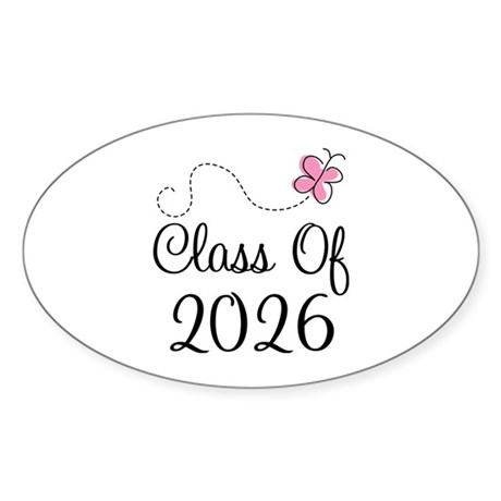 Pink Class Of 2026 Oval Sticker