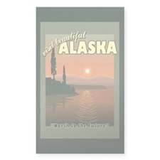 Visit Beautiful Alaska Rectangle Sticker 10 pk)