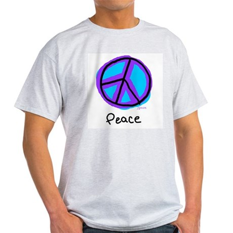 Peace Sign Doodle Ash Grey T-Shirt Men's Light T-Shirt