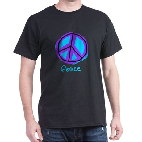Peace Sign Doodle Black T-Shirt Men's Dark T-Shirt