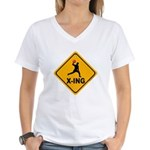 Dodgeball X-ing Women's V-Neck T-Shirt