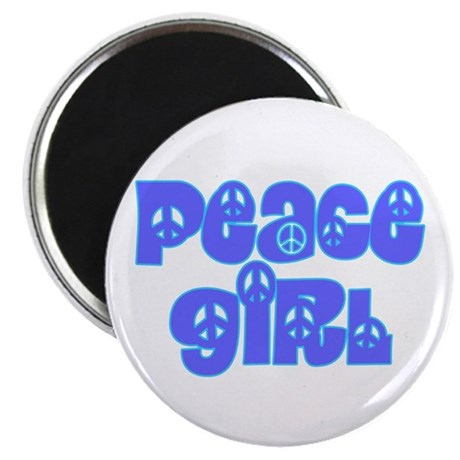 Peace Girl Round Magnet