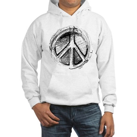 Urban Peace Sign Sketch Men's Hooded Sweatshirt